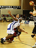 Saints forward Damon Thornton loses the ball during the NBL match between the Wellington Saints and Christchurch Cougars at Te Rauparaha Stadium, Porirua, Wellington, New Zealand on Saturday 4 April 2009. Photo: Dave Lintott / lintottphoto.co.nz
