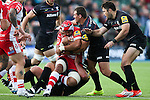 Gloucester's Sione Kalamafoni takes on Saracens' Kieran Longbottom and Saracens' Schalk Brits - Rugby Union - 2014 / 2015 Aviva Premiership - Saracens vs. Gloucester - Allianz Park Stadium - London - 11/10/2014 - Pic Charlie Forgham-Bailey/Sportimage