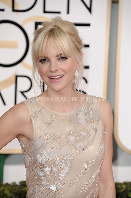 WWW.ACEPIXS.COM<br /> <br /> January 11 2015, LA<br /> <br /> Anna Faris arriving at the 72nd Annual Golden Globe Awards at The Beverly Hilton Hotel on January 11, 2015 in Beverly Hills, California.<br /> <br /> <br /> By Line: Peter West/ACE Pictures<br /> <br /> <br /> ACE Pictures, Inc.<br /> tel: 646 769 0430<br /> Email: info@acepixs.com<br /> www.acepixs.com