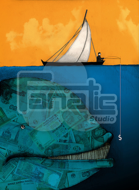 Businessman fishing for a large money whale