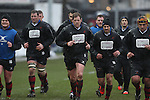 Dragons players warming up before kick off.<br /> Guiness Pro12<br /> Gwent Dragons v Connacht<br /> Rodney Parade<br /> 22.02.15<br /> ©Steve Pope -SPORTINGWALES