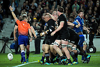 Scott Barrett congratulates Karl Tu'inukuafe for earning a scrum penalty during the Steinlager Series international rugby match between teh New Zealand All Blacks and France at Eden Park in Auckland, New Zealand on Saturday, 9 June 2018. Photo: Dave Lintott / lintottphoto.co.nz