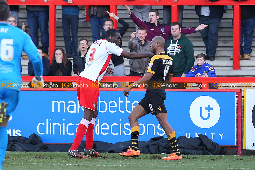 Tempers flare between Bira Dembele (L) and Chris Zebroski of Newport County who is subsequently sent off - Stevenage vs Newport County - Sky Bet League Two Football at the Lamex Stadium, Broadhall Way, Stevenage - 07/03/15 - MANDATORY CREDIT: Gavin Ellis/TGSPHOTO - Self billing applies where appropriate - contact@tgsphoto.co.uk - NO UNPAID USE