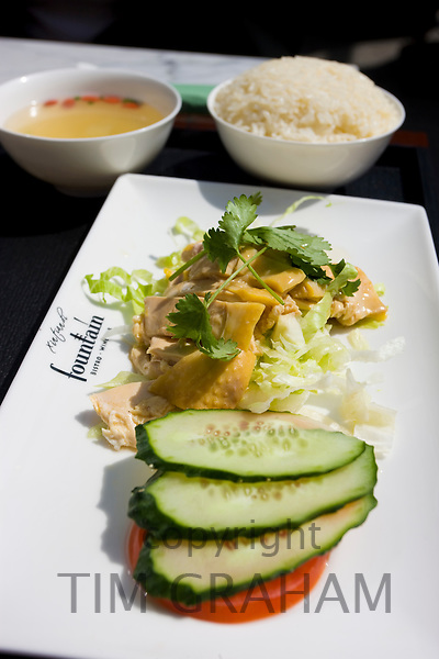 Hainan chicken with rice served at Fountain Bistro pavement cafe in Xintiandi, Huang Pi Road, Shanghai, China