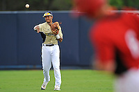 4 March 2012:  FIU shortstop Julius Gaines (2) throws as the FIU Golden Panthers defeated the Brown University Bears, 8-3, at University Park Stadium in Miami, Florida.