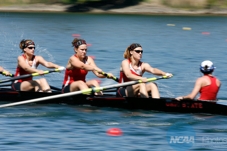 01 JUN 2008:  Ohio State races towards the finish line of the Second Eights Grand Final Race at the 2008 NCAA Division I Women's Rowing Championship held at Lake Natoma in Gold River, CA.   Ohio State finished the race in second place with a time of 6:44.87. Trevor Brown, Jr./NCAA Photos.