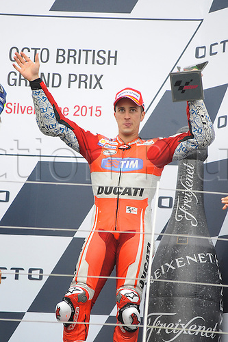 30.08.2015. Silverstone, Northants, UK. OCTO British Grand Prix. Andrea Dovizioso on the podium in 3rd place.