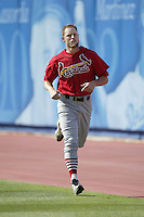 Jason Simontacchi of the St. Louis Cardinals runs in the outfield before a 2002 MLB season game against the Los Angeles Dodgers at Dodger Stadium, in Los Angeles, California. (Larry Goren/Four Seam Images)