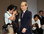 June 23, 2017, Tokyo, Japan - Japan's troubled Toshiba president Satoshi Tsunakawa arrives at a press conference at the company's headquarters in Tokyo on Friday, June 23, 2017. Toshiba asked authority to extend a deadline to submit its annual financial report until August 10. Toshiba's stock will be transferred from the first section to the second section at the Tokyo and Nagoya Stock Exchange from August 1.   (Photo by Yoshio Tsunoda/AFLO) LwX -ytd-