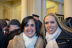 Mineola, New York, USA. January 1, 2018. L-R, Hempstead Town Clerk SYLVIA CABANA and SUE MOLLER, who ran for Town of Hempstead Town Council, get together inside Theodore Roosevelt Executive & Legislative Building, after Historic swearing-In of LAURA CURRAN as Nassau County Executive, the first female County Executive, is held outdoor that building. Temperature was a freezing 14 ℉ Fahrenheit / -10 ℃  Celsius.