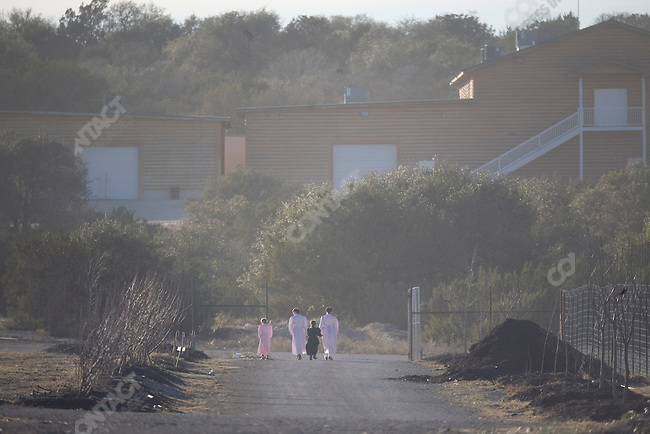"""Fundamentalist Mormon group F.L.D.S.,  orchard on the """"Yearning for Zion"""" compound in Eldorado, Texas, USA, February 11, 2009"""