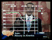 """Washington, D.C. - June 28, 2007 -- Electronic scoring of response of United States Senator Barak Obama (Democrat of Illinois)  during the """"All-American Presidential Forums on PBS"""" at Howard University in Washington, D.C. on Thursday, June 29, 2007.  The """"Instant Response"""" electronic scoring is a technique developed by Dr. Frank Luntz (not pictured) that he uses to obtain on-the-spot feedback from a group of everyday citizens.  A score of 50 is the mean, the higher the number above 50, the more positive is the focus group's response to a candidate's answer, the numbers below 50 measure negative response to the answers..Credit: Ron Sachs / CNP..(RESTRICTION: No New York or New Jersey newspapers or newspapers within a 75 mile radius of New York City)"""