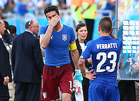 Italy goalkeeper Gianluigi Buffon shows a look of dejection at full time
