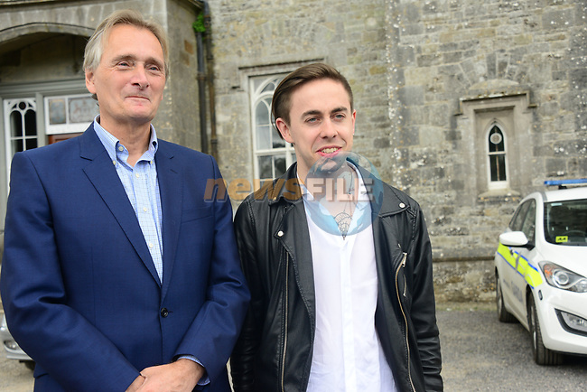 The Garda press conference in Slane Castle ahead of the Guns n Roses concert Lord Henry Mountcharles with local lad Luke Reilly (he's from Beauparc and went to St. Ollies community College in Drogheda) who is lead singer and guitarist with Other Kin who are the opening act a the concert.<br /> Picture Fran Caffrey /Newsfile.ie