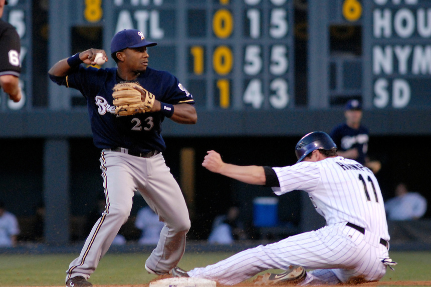 06 June 08: Milwuakee Brewers 2nd baseman Richie Weeks attempts to turn a double play against the Colorado Rockies as Rockies outfielder Brad Hawpe slides into 2nd base. The Rockies defeated the Brewers 6-4 at Coors Field in Denver, Colorado on June 6, 2008. For EDITORIAL use only