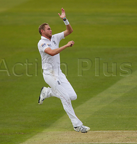 16.08.2012 London, England...Stuart Broad in action during day one of the third test between England and South Africa from Lords.