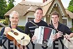 Musicians Tim O'Shea, Brian O'Leary and Colm Guilfoyle who will be playing a  concert at Deenagh Cottage Killarney on the 17th July as part of the Spraoi Chiarrai? concert programme