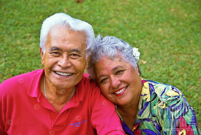 Affectionate senior Hawaiian man and part-Hawaiian woman