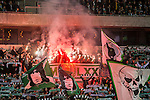 Stockholm 2015-10-25 Fotboll Allsvenskan Hammarby IF - Malm&ouml; FF :  <br /> Hammarbys supportrar eldar med bengaliska eldar under matchen mellan Hammarby IF och Malm&ouml; FF <br /> (Foto: Kenta J&ouml;nsson) Nyckelord:  Fotboll Allsvenskan Tele2 Arena Hammarby HIF Bajen Malm&ouml; FF MFF supporter fans publik supporters bengal bengaler bengalisk eld r&ouml;k