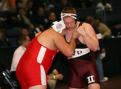 Ken Altarac and Jared Veruto wrestle at the 285 weight class during the NY State Wrestling Championships at Blue Cross Arena on March 8, 2008 in Rochester, New York.  (Copyright Mike Janes Photography)