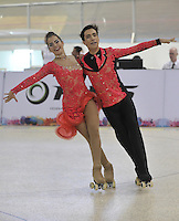 CALI – COLOMBIA – 19 – 09 – 2015: Jose Souto y Marina Souto, deportistas de Portugal, durante la prueba de Pareja Danzas Obligatorias Juvenil en el LX Campeonato Mundial de Patinaje Artistico, en el Velodromo Alcides Nieto Patiño de la ciudad de Cali. / Jose Souto and Marina Souto, participants from Portugal, during the Compulsory Couples Dance Junior test, in the LX World Championships  Figure Skating, at the Alcides Nieto Patiño Velodrome in Cali City. Photo: VizzorImage / Luis Ramirez / Staff.