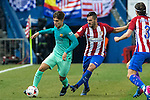 FC Barcelona's Denis Suarez (L) and Atletico de Madrid's midfielder Koke Resurrecccion (C) -and defender Filipe Luis (R)  during the match of Copa del Rey between Atletico de  Madrid and Futbol Club Barcelona at Vicente Calderon Stadium in Madrid, Spain. February 1st 2017. (ALTERPHOTOS/Rodrigo Jimenez)