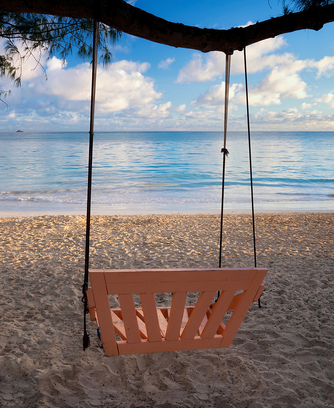 Swing on beach at Kailua Beach Park. Oahu, Hawaii