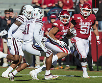 NWA Democrat-Gazette/BEN GOFF @NWABENGOFF<br /> Rakeem Boyd, Arkansas running back, carries in the first quarter vs Mississippi State Saturday, Nov. 2, 2019, at Reynolds Razorback Stadium in Fayetteville.