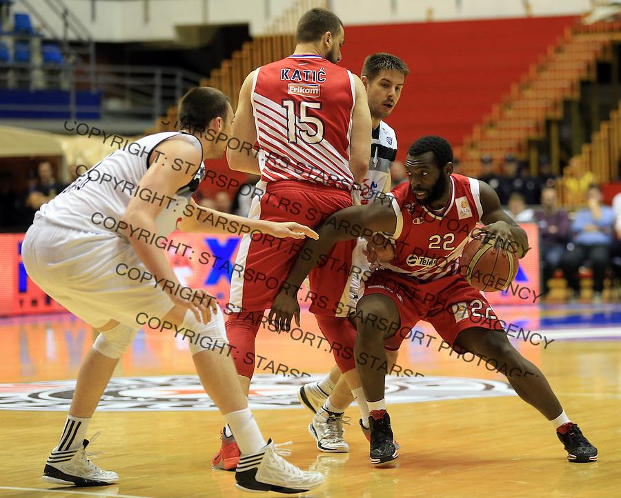 Kosarka play off final game 3<br /> Partizan v Crvena Zvezda<br /> Charles Jenkins (R) Milenko Tepic (C) and Nikola Milutinov (L)<br /> Belgrade, 06.16.2014.<br /> foto: Srdjan Stevanovic/Starsportphoto &copy;