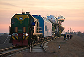 The Soyuz TMA-22 spacecraft is rolled out by train on its way to the launch pad at the Baikonur Cosmodrome, Kazakhstan, Friday, November 11, 2011.  The launch of the Soyuz spacecraft with Expedition 29 Soyuz Commander Anton Shkaplerov of Russia, NASA Flight Engineer Dan Burbank and Russian Flight Engineer Anatoly Ivanishin is scheduled for 10:14 a.m. local time on Monday, November 14, 2011.  .Mandatory Credit: Carla Cioffi - NASA via CNP