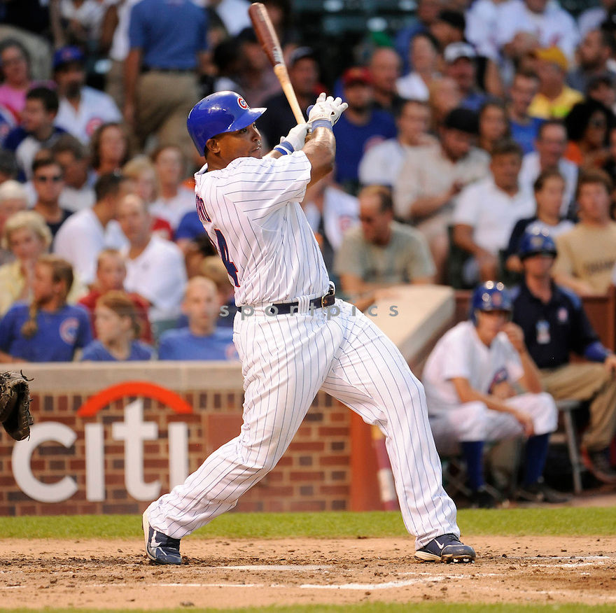 MARLON BYRD, of the  Chicago Cubs, in action during the Cubs  game against the  Philadelphia Phillies  in Chicago, IL on July 18, 2010.  The Cubs won the game 11-6.