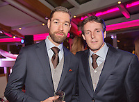 Moskou, Russia, Februari 4, 2016,  Fed Cup Russia-Netherlands,  Official Dinner, Dutch teammanager Guus van Berkel (R) and team Fysio Edwin Visser<br /> Photo: Tennisimages/Henk Koster