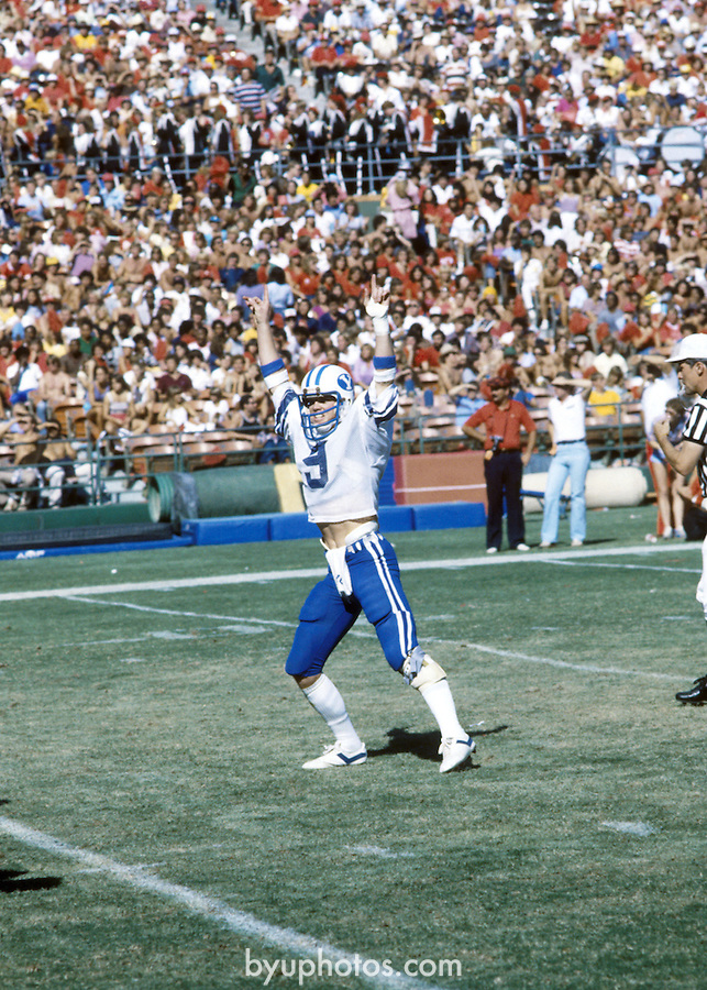 OCT 1981<br /> <br /> 9 Jim McMahon Quarterback.<br /> <br /> October 1981<br /> <br /> Photo by: Mark Philbrick/BYU<br /> <br /> Copyright BYU PHOTO 2009<br /> All Rights Reserved<br /> 801-422-7322<br /> photo@byu.edu