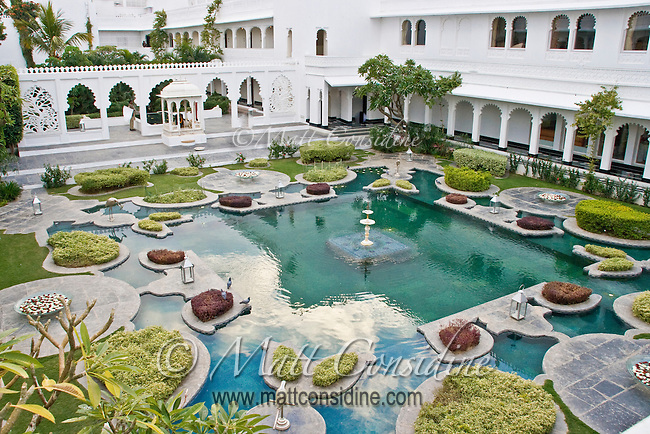 Overhead view of courtyard decorated with hedges in garden, lily pond and fountains in Taj Lake palace.<br /> (Photo by Matt Considine - Images of Asia Collection)