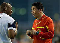 Jamison Olave of Real Salt Lake argues with the referee Jorge Gonzalez about a bad call during the game against the Earthquakes at Buck Shaw Stadium in Santa Clara, California on March 27th, 2010.   Real Salt Lake defeated San Jose Earthquakes, 3-0.
