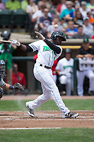 Taylor Trammell (5) of the Dayton Dragons fouls off a pitch during the game against the West Michigan Whitecaps at Fifth Third Field on May 29, 2017 in Dayton, Ohio.  The Dragons defeated the Whitecaps 4-2.  (Brian Westerholt/Four Seam Images)