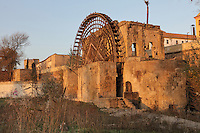 The Molino de la Albolafia, a noria or Islamic water wheel on the Guadalquivir river, Cordoba, Andalusia, Southern Spain. The water wheel was added to a Roman mill at the time of Abd-al-Rahman II in the 9th century, to raise the river water to the Caliphal Palace, later converted to the Episcopal Palace by the Catholic Kings. The historic centre of Cordoba is listed as a UNESCO World Heritage Site. Picture by Manuel Cohen