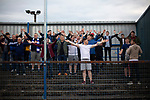 Home supporters welcoming their team on to the pitch before Coleraine  played Spartak Subotica of Serbia in a Europa League Qualifying First Round second leg at the Showgrounds, Coleraine. The hosts from Northern Ireland had drawn the away leg 1-1 the previous week, however, the visitors won the return leg 2-0 to progress to face Sparta Prague in the next round, watched by a sell-out crowd of 1700.