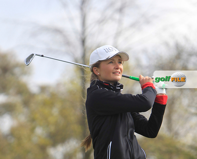 Sophie Lamb (ENG) on the 12th tee during Round 1 of The Irish Girls Open Strokeplay Championship in Roganstown Golf Club on Saturday 18th April 2015.<br /> Picture:  Thos Caffrey / www.golffile.ie