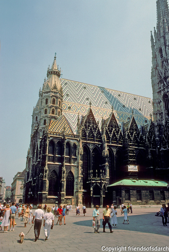 Vienna: St. Stephen's Cathedral today. Portions of dome go back to 12th C. but most of it is 14th & 15th C. Note the distinctive tiled roof. Photo '87.
