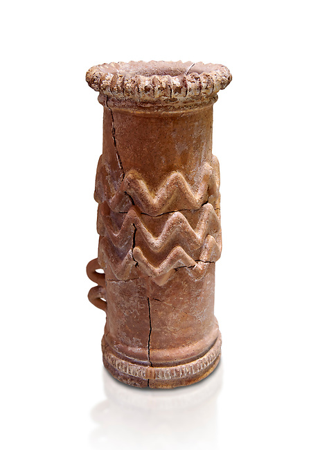 Minoan cylindrical cult vessel base used to support vessels full of offerings ,  1300-1100 BC,  Heraklion Archaeological  Museum, white background.<br /> <br /> These cylindrical cult vessels were used until the Postpalatial period in the shrines of the godesses wth upraised arms
