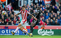 Romelu Lukaku of Man Utd hits a shot at goal under pressure from Geoff Cameron of Stoke City during the Premier League match between Stoke City and Manchester United at the Britannia Stadium, Stoke-on-Trent, England on 9 September 2017. Photo by Andy Rowland.
