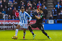 Huddersfield Town's forward Collin Quaner (23) takes on Crystal Palace's midfielder Luka Milivojevic (4) tduring the EPL - Premier League match between Huddersfield Town and Crystal Palace at the John Smith's Stadium, Huddersfield, England on 17 March 2018. Photo by Stephen Buckley / PRiME Media Images.
