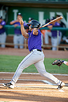 Coco Montes (19) of the Grand Junction Rockies bats during a game against the Ogden Raptors at Lindquist Field on September 7, 2018 in Ogden, Utah. The Rockies defeated the Raptors 8-5. (Stephen Smith/Four Seam Images)