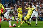 Real Madrid's James Rodriguez and Villarreal's Bruno Soriano during the match of La Liga between Real Madrid  and Villarreal Club de Futbol at Santiago Bernabeu Estadium in Madrid. September 21, 2016. (ALTERPHOTOS/Rodrigo Jimenez)