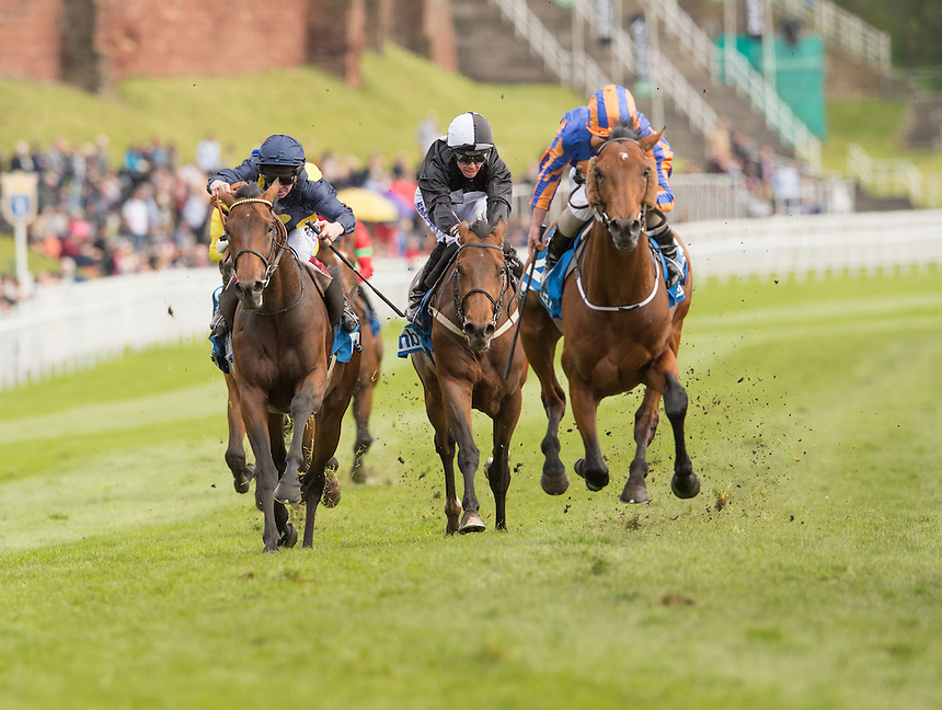 15:10 Chester MBNA Chester Vase (Group 3)<br /> Winner Hans Holbein  Trainer A P O'Brien<br /> Jockey R L Moore<br /> <br /> Horse Racing - Boodles Ladies Day - Thursday 7th May 2015 - Chester Racecourse - Chester<br /> <br /> Photographer Terry Donnelly/CameraSport<br /> <br /> &copy; CameraSport - 43 Linden Ave. Countesthorpe. Leicester. England. LE8 5PG - Tel: +44 (0) 116 277 4147 - admin@camerasport.com - www.camerasport.com