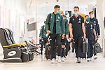 05.07.2020, Bremen Airport Hans Koschnick, Bremen, GER, Werder Bremen - Airpirt Bremen Abflug Relegation 02 - Heidenheim, <br /> <br /> Reisecrew des SV Werder Bremen auf dem Bremer Flughafen / Airport auf dem Weg zum 2. Relegationsspiel am 06.07.2020 in Heidenheim. Auf dem Airport alle mit Sicherheitsabstand und mit CORONA Gesichtsmaske<br /> <br /> <br />  im Bild<br /> <br /> Davie Selke  (SV Werder Bremen #09) li<br /> Sebastian Langkamp (Werder Bremen #15)<br /> <br /> <br /> Foto © nordphoto / Kokenge