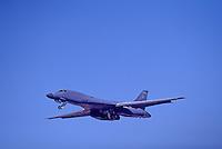 "US Air Force Rockwell (Boeing) B-1B Lancer Bomber (aka the ""Bone"") Military Aircraft in Flight - at Abbotsford International Airshow, BC, British Columbia, Canada"