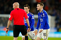 11th January 2020; King Power Stadium, Leicester, Midlands, England; English Premier League Football, Leicester City versus Southampton; James Maddison of Leicester City complains to Referee Lee Mason after a heavy challenge - Strictly Editorial Use Only. No use with unauthorized audio, video, data, fixture lists, club/league logos or 'live' services. Online in-match use limited to 120 images, no video emulation. No use in betting, games or single club/league/player publications