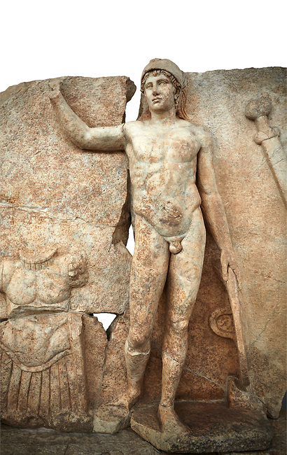 Close up of a Roman Sebasteion relief  sculpture of Ares, Aphrodisias Museum, Aphrodisias, Turkey.   Against a white background.<br /> The nude and classically7 styled young god wears only a helmet and holds a spear (missing) in one hand and a shield in the other. At the left stands cuirass, and at the upper right corner hangs his sword. Ares was a god of war and was not later defaced by Christians probably because he so closely resembles a young emperor.